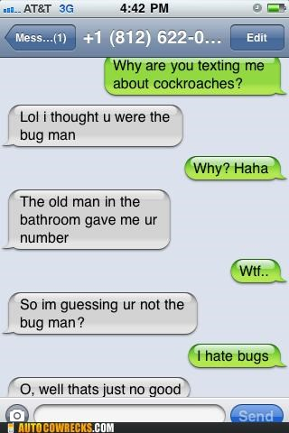 bugs,cockroach,pest control,wrong number