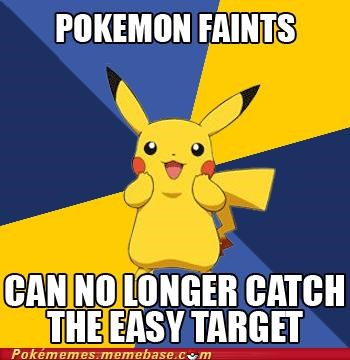 catching pokemon,faints,meme,Memes,no longer catch,pikachu,pokemon logic