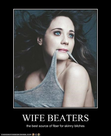 clothing fiber skinny wife beaters zooey deschanel - 5360006656