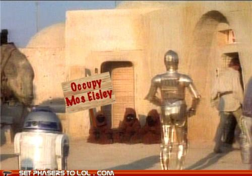 c3p0,jawas,mos eisley,occupy,r2-d2,star wars,tatooine
