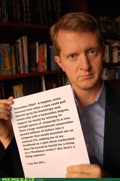 Jeopardy Ken Jennings Memes occupy television Wall Street - 5360392192