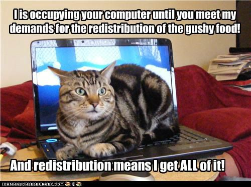 I is occupying your computer until you meet my demands for the redistribution of the gushy food! And redistribution means I get ALL of it!
