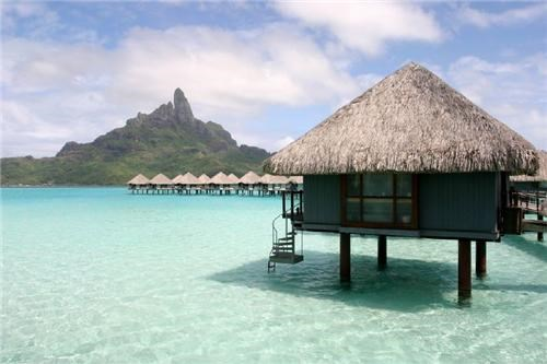 beautiful blue bora bora clouds destination of the week first class ticket french polynesia hut ocean ocean bungalow water - 5360600576