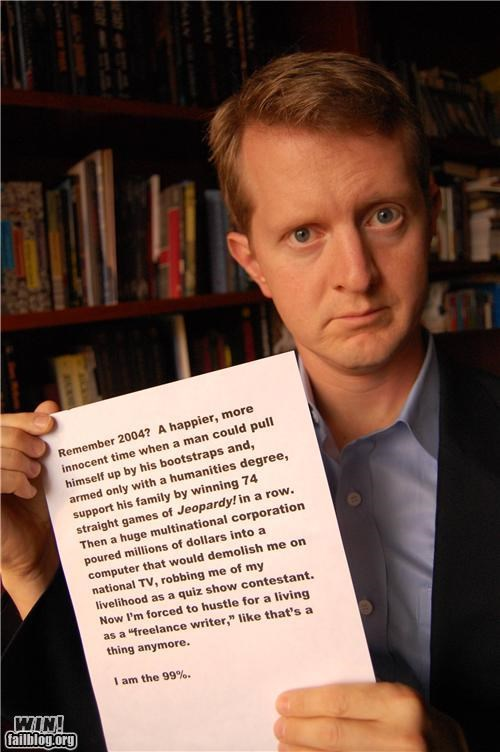 99 Hall of Fame Jeopardy Ken Jennings occupy wallstreet We Are The 99 Percent