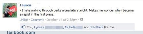 alone,parks,sexual assault,walking,witty status