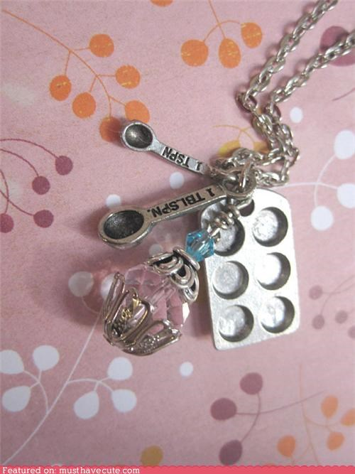 accessories,baking,best of the week,chain,cooking,crystal,Jewelry,measuring spoon,muffin tin,necklace,pendant