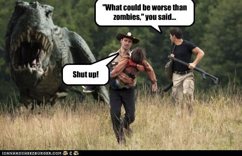 Andrew Lincoln,dinosaurs,Rick Grimes,The Walking Dead,what could be,worse,zombie
