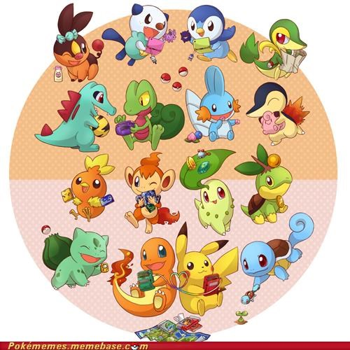 all the starters,art,awesome,electric,even pikachu,fire,games,grass,starter collection,water