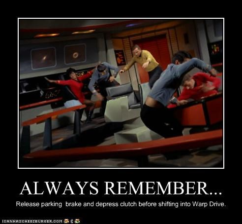 brake,Captain Kirk,driving,Nichelle Nichols,parking,shifting,Star Trek,uhura,William Shatner