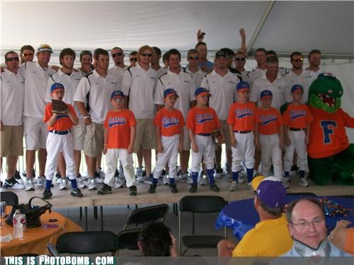 Neckbrace guy photobombs the Gators