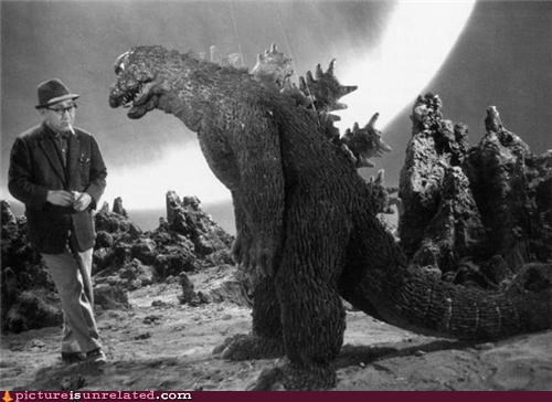 Between takes, Akira Kurosawa and Godzilla discuss Italian neorealist cinema
