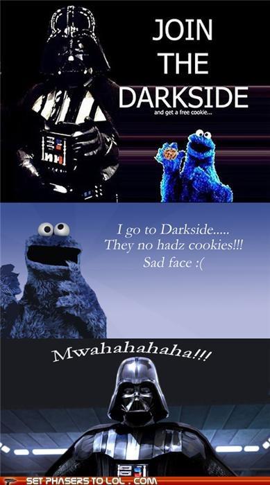 cookies Cookie Monster darth vader Sesame Street star wars the dark side - 5362705664