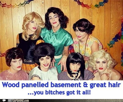 drag,drag queens,live the dream,wigs,wood paneled basement