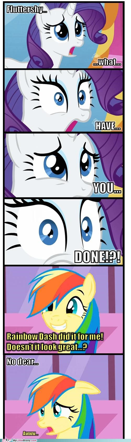 fluttershy meme rainbow dash rarity what have you done - 5363319040