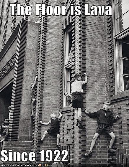 brick wall children climbing walls floor is lava fun historic lols kids vintage - 5363374848