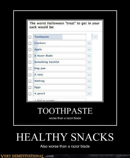 halloween,healthy snack,hilarious,razor blade