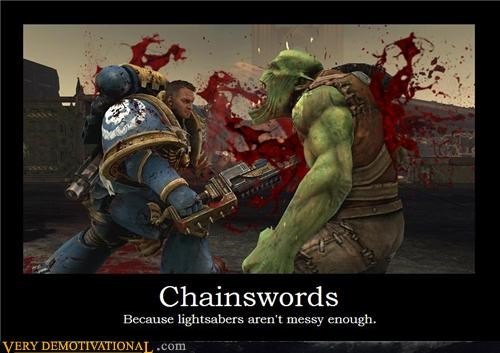 chainsword,hilarious,lightsaber,video games,warhammer