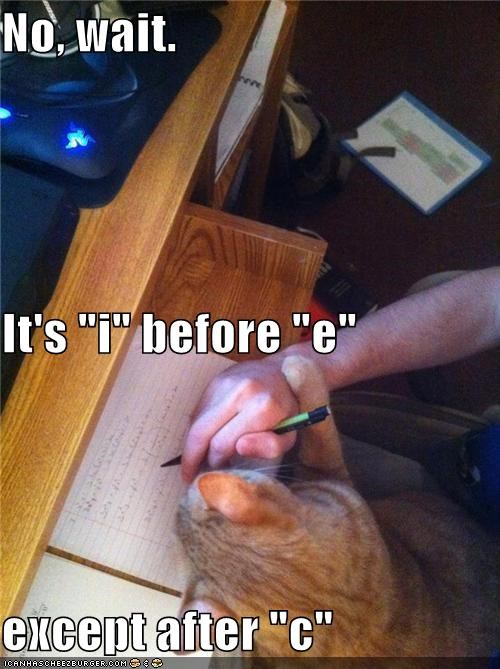 "No, wait. It's ""i"" before ""e"" except after ""c"""