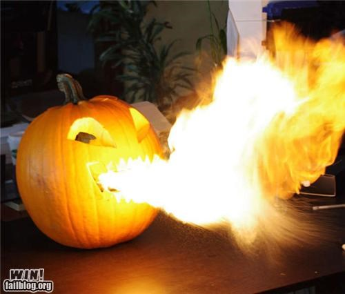 carving DIY fire flamethrower halloween pumpkins - 5364009472
