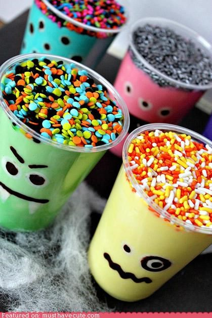 cups,epicute,halloween,monster,pudding,sprinkles
