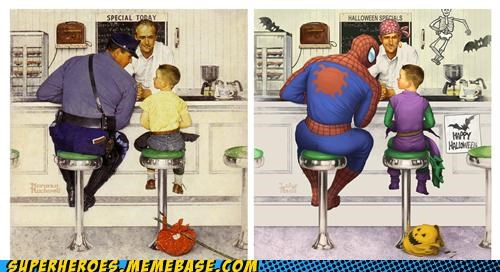 Awesome Art cop norman rockwell Spider-Man - 5364141312