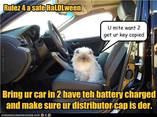 Rulez 4 a safe HaLOLween Bring ur car in 2 have teh battery charged and make sure ur distributor cap is der. Chech1965 271011 U mite want 2 get ur key copied