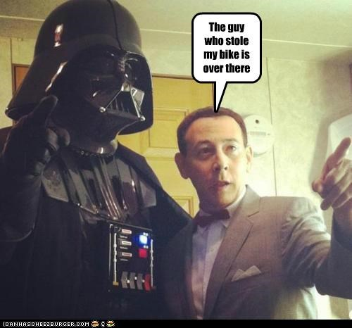 bike,darth vader,peewee herman,star wars,stole