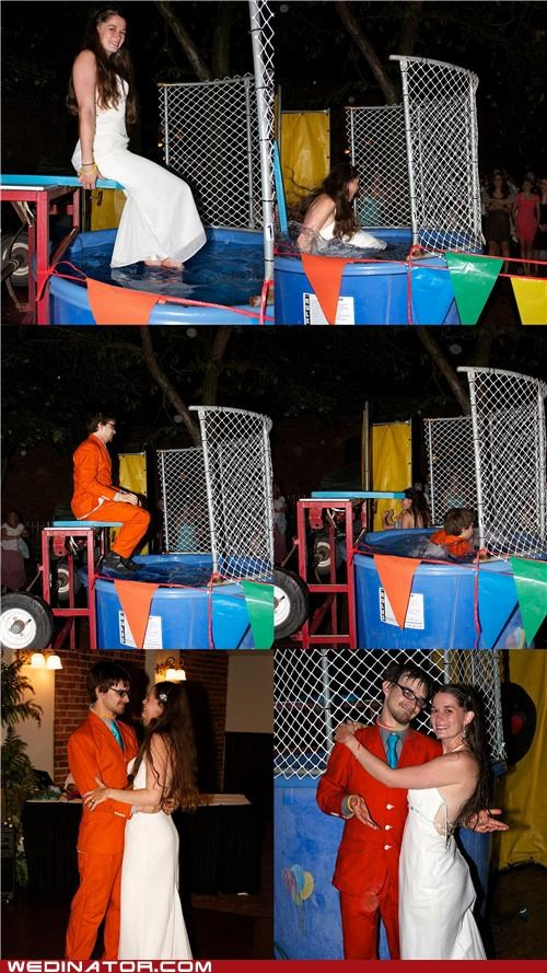 bride,Carnival,dunk tank,funny wedding photos,groom