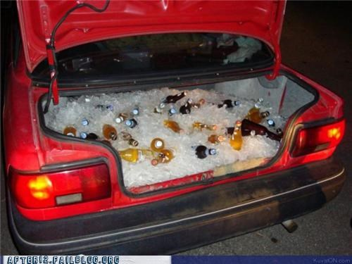 beer,beer bottles,car,ice,roll out,trunk