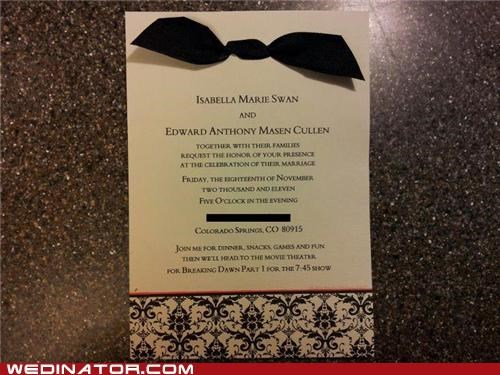 funny wedding photos invites twilight Wedding Invitation