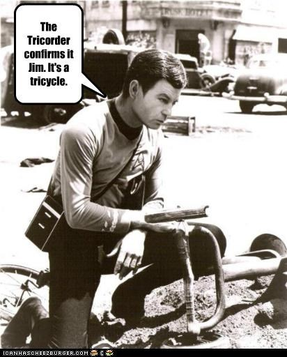 DeForest Kelley,modern,science,Star Trek,technology,tricorder,tricycle