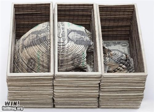art currency money morbid sculpture skull - 5364653568