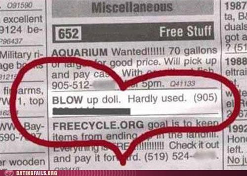 Ad blowup doll blowup dolls free newspaper sale used We Are Dating - 5364661504