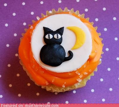 cupcake epicute fondant frosting halloween kitty moon