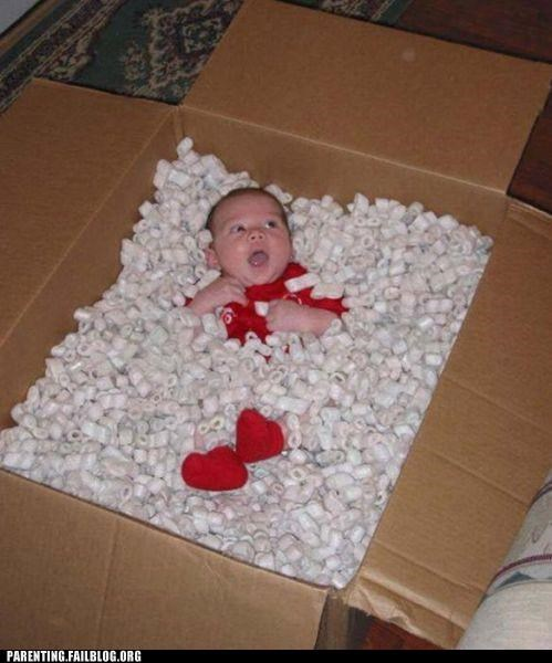 baby,box,packing peanuts,Parenting Fail,shipping
