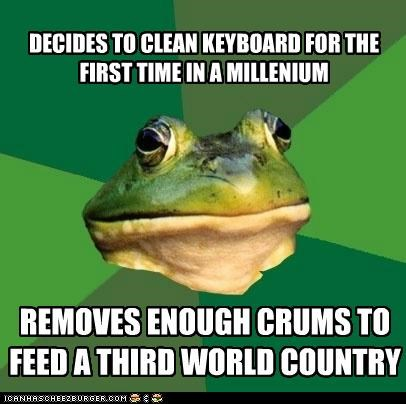 clean,country,crumbs,foul bachelor frog,keyboard,millenium
