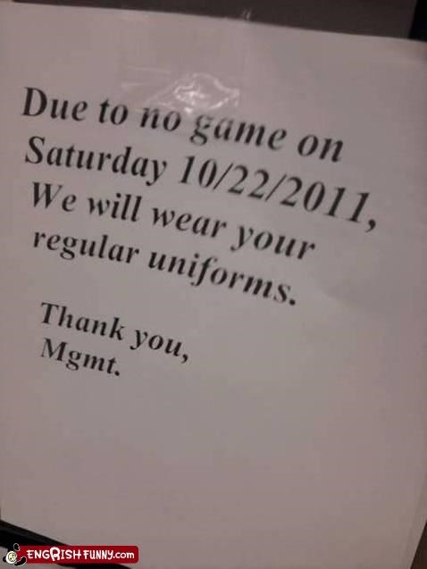 cancellation,typos,uniforms