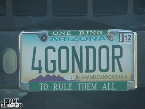 car,driving,Hall of Fame,license plate,Lord of the Rings,nerdgasm,one ring