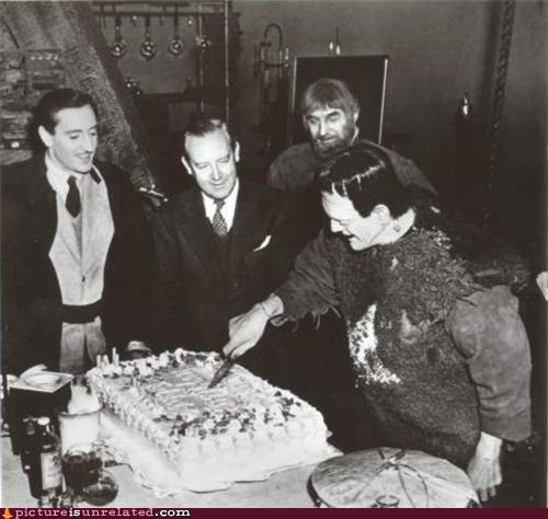 Frankenstein's monster cutting birthday cake for Frank