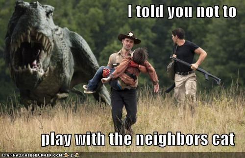 Andrew Lincoln,cat,dinosaurs,neighbor,Rick Grimes,The Walking Dead,zombie