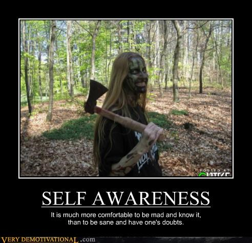 SELF AWARENESS It is much more comfortable to be mad and know it, than to be sane and have one's doubts.