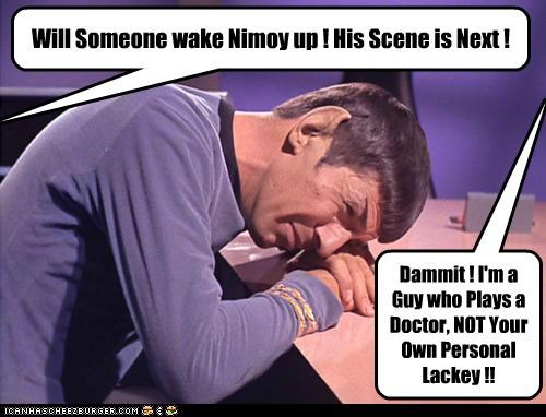 dammit,DeForest Kelley,Leonard Nimoy,McCoy,Spock,Star Trek,wake up