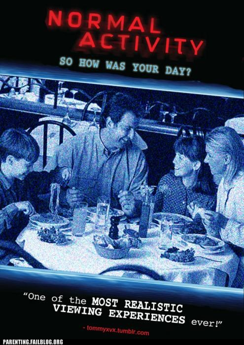 conversation,dinner table,halloween,Movie,paranormal activity,Parenting Fail,parody,poster,scary,spooky