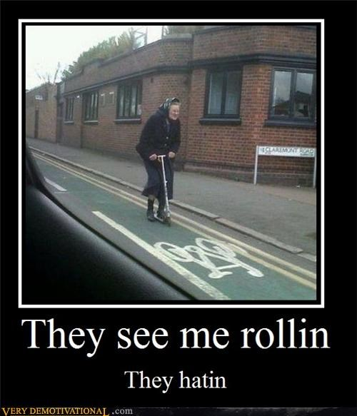 hating,hilarious,old lady,razor scooter,rolling