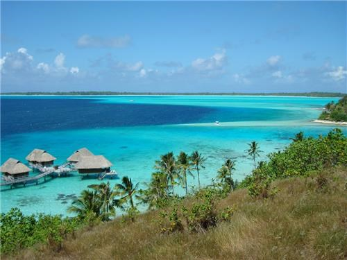 blue blue water bora bora clouds destination of the week first class ticket french polynesia getaways horizon ocean palm trees peaceful - 5368544512