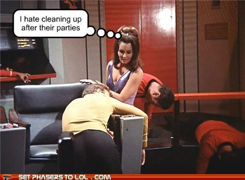 Captain Kirk,cleaning up,enterprise,parties,Star Trek,William Shatner
