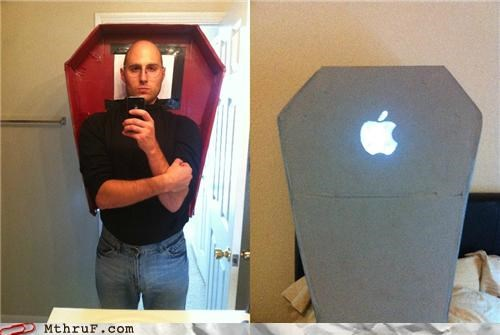 apple,coffin,costume,dead,halloween,steve jobs,tacky