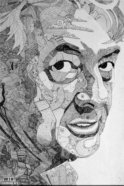 art detail doodle drawing pen portrait - 5369175040