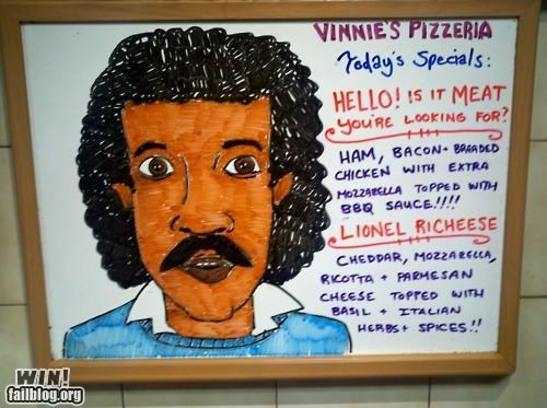 business food Hall of Fame lionel richie pizza restaurant sign toppings - 5369179136