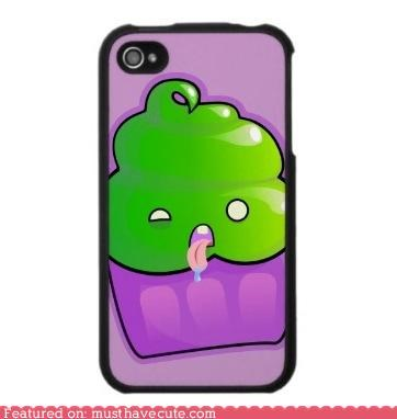case,cover,cupcake,green,iphone,sick,zombie